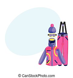 Skiing, snowboarding outfit - jacket, pants, gloves, boots, beanie hat