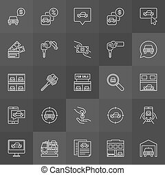 Car dealership icon. Vector collection of buying and selling...