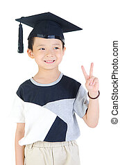 Asian graduation - Happy and very glad asian school kid...