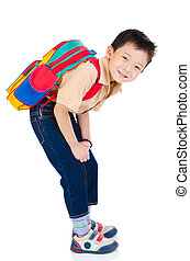 Asian school boy - Cheerful asian primary school student...
