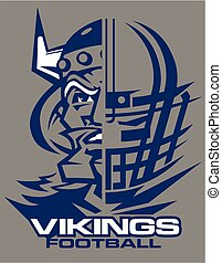 vikings football team design with mascot and facemask for...