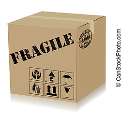 Handle With Care Box. Vector - Recycle box and rubber stamp...