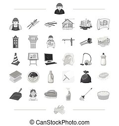 Architecture, construction and other web icon in monochrome style. Cleaning, cleanliness, garbage, washing icons in set collection.