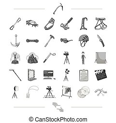 , mountaineering, sport, hobbies and other web icon in black...
