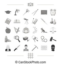 punishment, teaching, education and other web icon in black style., mask, grating, crime, icons in set collection.