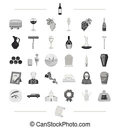 trawl, ritual, religion and other web icon in black...