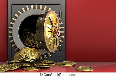 3d bitcoins heap over red - 3d illustration of metal safe...