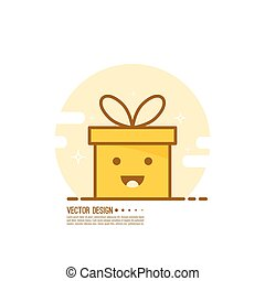 Trendy vector icon giftbox with ribbons. - Bright color gift...