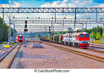 Highspeed train and freight train. - Highspeed train and...
