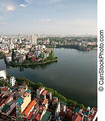 Cityscape of Hanoi in Vietnam - Cityscape of Hanoi city in...