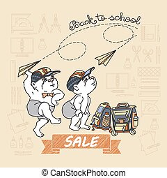 Bears and paper toy plane. Back to School Sale.