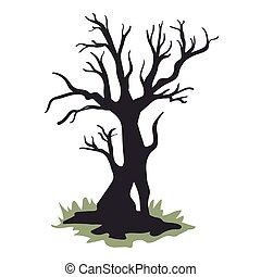 Silhouette of a dead tree without foliage. Vector illustration, isolated on white background.