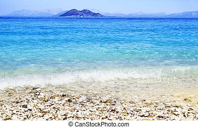Gidaki beach at Ithaca Greece - landscape of Gidaki beach...