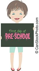 Cute smiling child first day of pre-school illustration