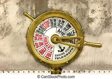 motor, antiguo, habitación, telégrafo
