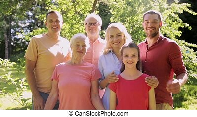 happy family portrait in summer garden - generation and...