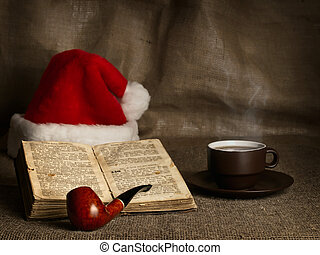 Christmas and New year theme with open Bible , cup of tea,...