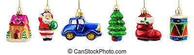 Set of christmas toys isolated on white background
