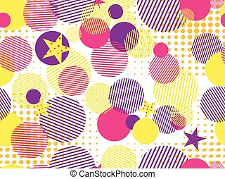 Memphis seamless pattern. Pop art dotted and geometric elements memphis in the style of 80's. Vector illustration