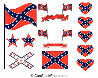 Flag of the Confederates, a set of icons, stars and hearts...