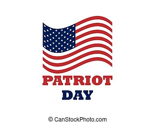 Patriot Day US flag on white background. Memorial day 9/11....