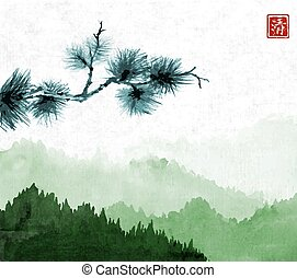 Pine tree branch an green mountains with forest trees in fog on rice paper background. Hieroglyph - clarity. Traditional oriental ink painting sumi-e, u-sin, go-hua