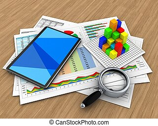 3d business documents - 3d illustration of business...