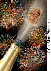 new year champagne and fireworks