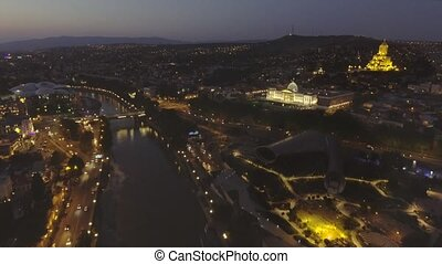 TBILISI capital of Georgia. Aerial view of center of...