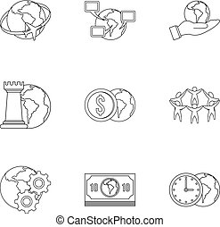 Global comunity icon set, outline style - Global comunity...