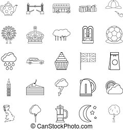 Detached house icons set, outline style - Detached house...