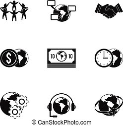 Global network icon set, simple style - Global network icon...