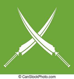Samurai swords icon green - Samurai swords icon white...