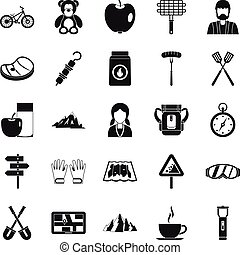 Family barbecue icons set, simple style