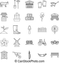 Homestead icons set, outline style - Homestead icons set....