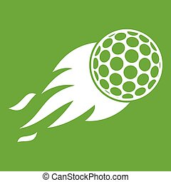 Burning golf ball icon green