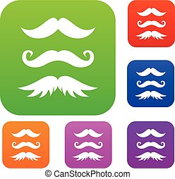 Moustaches set collection - Moustaches set icon in different...