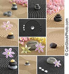zen, jardin, collage