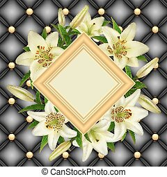 Frame with lily flowers
