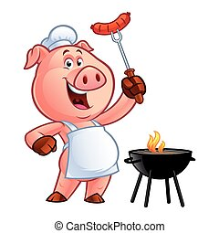 cartoon pig chef