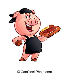 cartoon pig chef - Pig chef carrying a tray with a barbecue...