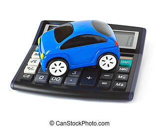 Calculator and toy car isolated on white background