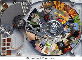 photos on the hard disc - Detail of the hard disc and busbar...