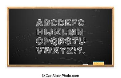 School board with alphabet written in chalk.