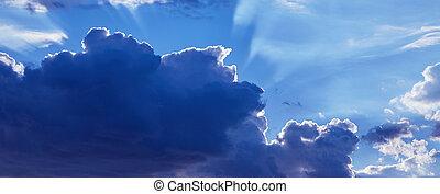 美麗, 藍色, 云霧, 天空, 陽光, 背景。