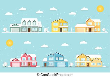 Neighborhood with homes and snowflakes illustrated on the...