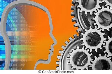3d head contour - 3d illustration of mechanic over orange...