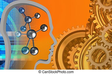 3d head contour - 3d illustration of molecule over orange...