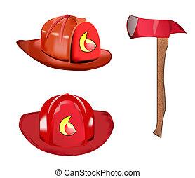 Vector of fireman equipment - Vector of fireman helmet and...
