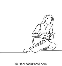 Young woman reading book - Continuous line drawing. Young...